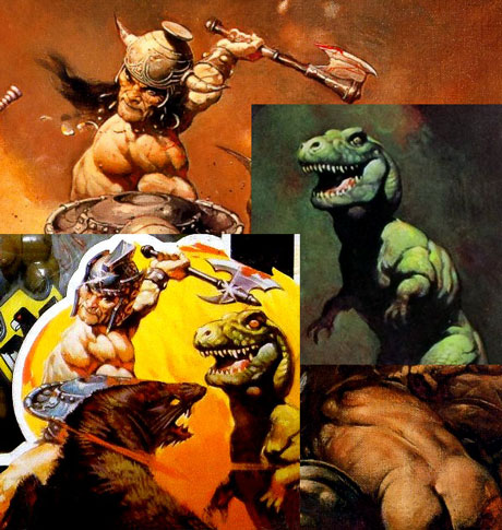 Galaxy Warriors box art compared to Frazetta's The Destroyer and Tyrannosaurs Rex