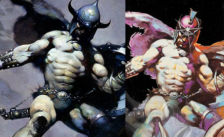 Galaxy Warriors card art compared to Frazetta's Warrior with Ball and Chain
